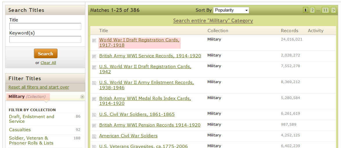 finding military records in ancestry