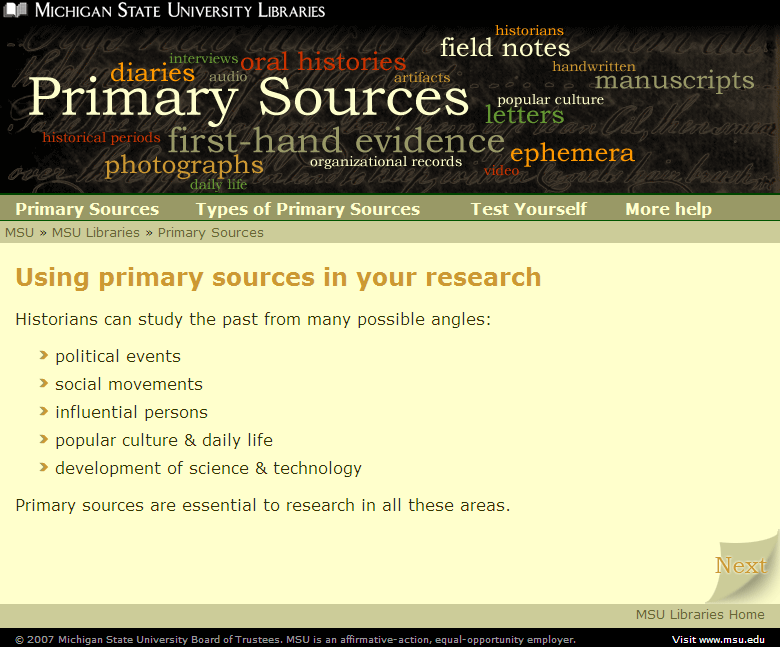Primary Sources online module