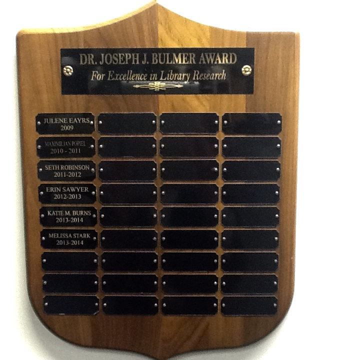 Bulmer Award plaque