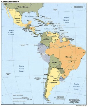 Map of Mexico and Central America and South America