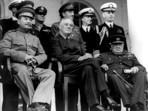 photo of Stalin, Roosevelt and Churchill