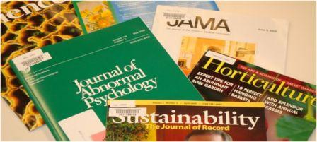 various journals in a pile: JAMA, Horticulture, Sustainability, and others