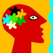 Drawing of person with complex brain