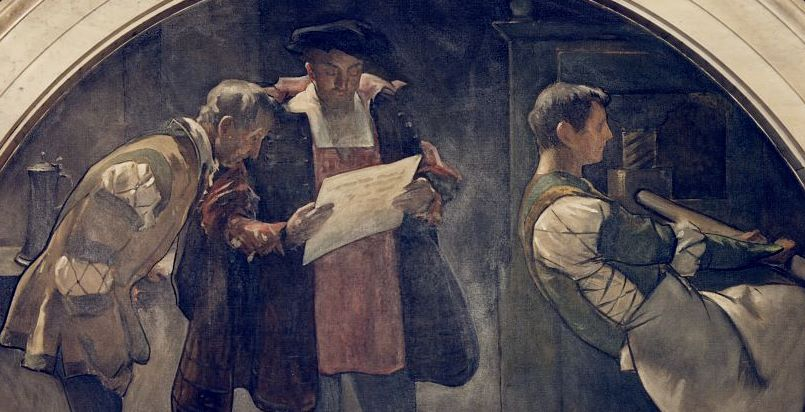 Historical art of men at work on a printing press