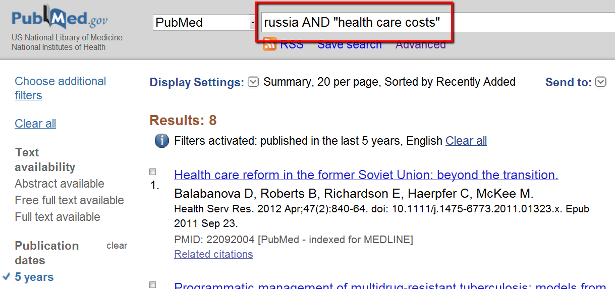 pubmed search for HS 162/262