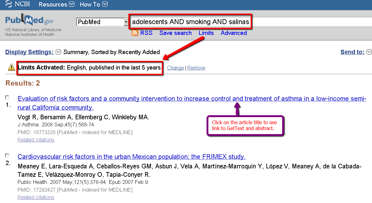 PubMed search smoking salinas