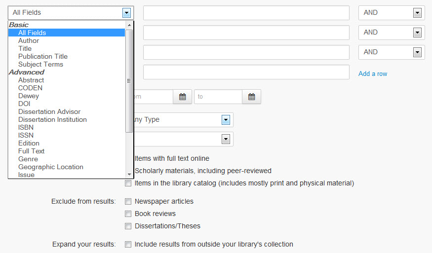 screenshot of Summon advanced search options