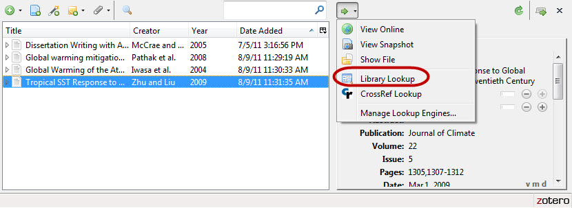 Screenshot of Library Lookup feature in Zotero