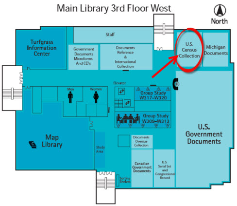Map of Main Library 3 West showing the location of the Census collection