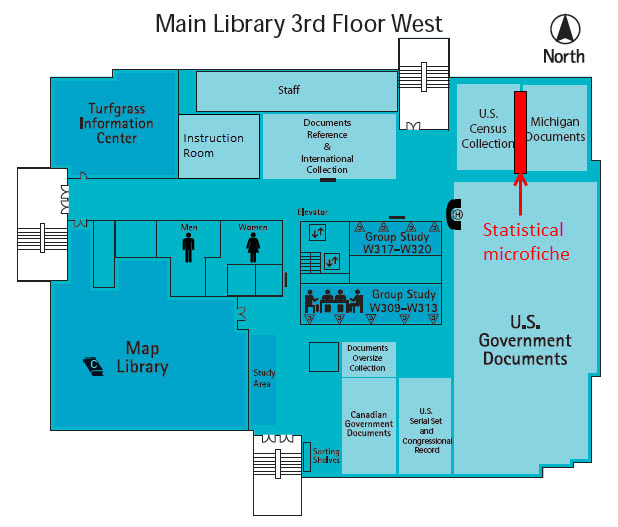 Floor plan showing location of Statistical Microfiche on 3 West
