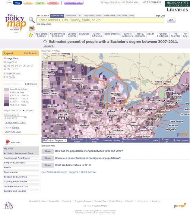 screenshot of PolicyMap