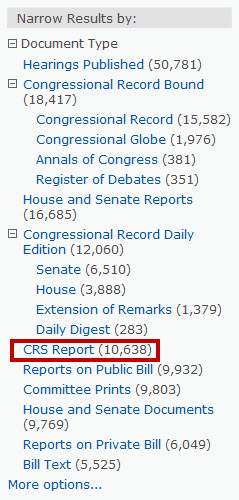 Screenshot of ProQuest Congressional search limit options with CRS Reports circled in red