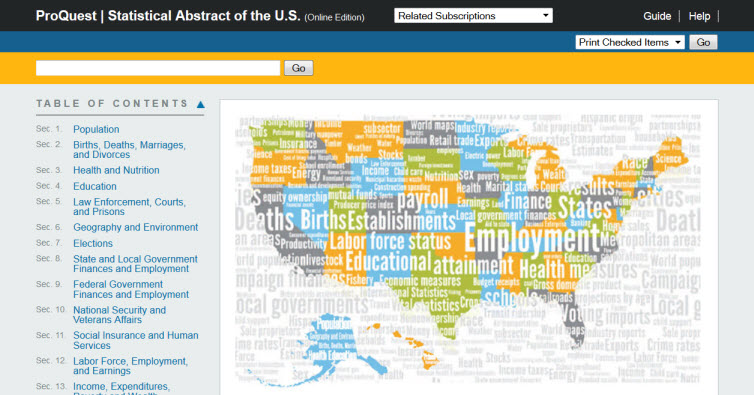 Screenshot of ProQuest Statistical Abstract of the United States home page