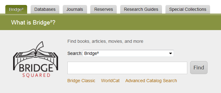 Bridge² link on library home page