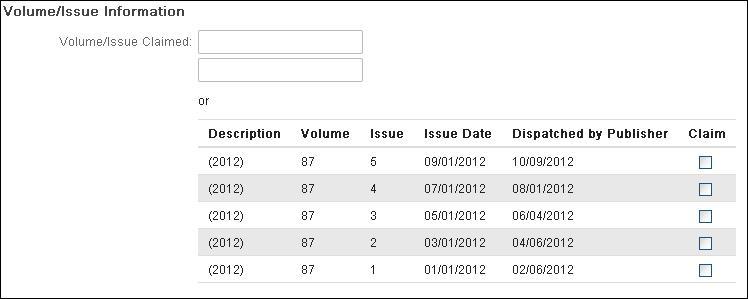 volume, issue info
