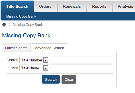 missing copy bank