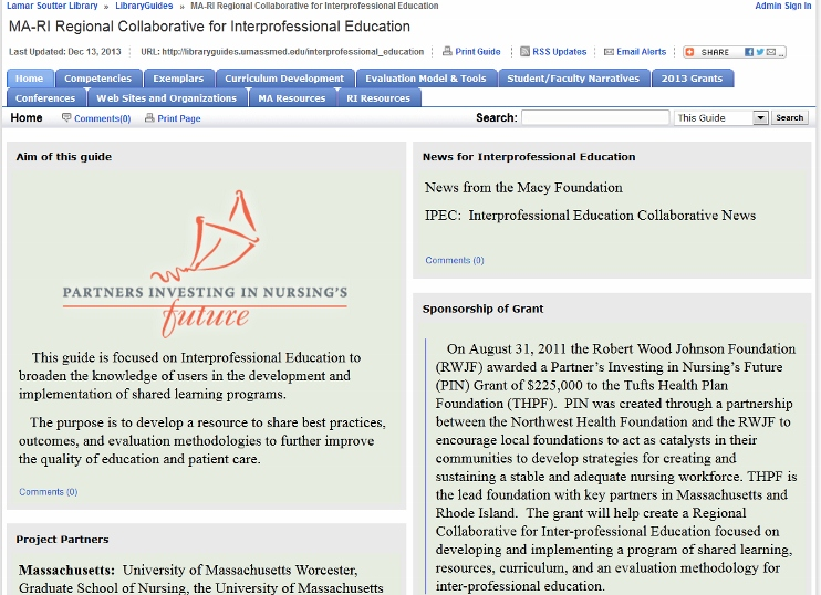 Image & link for the LibGuide for the MA-RI Regional Collaborative for Interprofessional Education