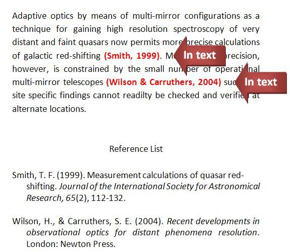 In text referencing example in the APA 6th edition style with a journal article and book.