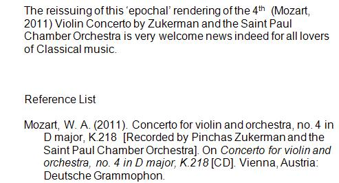 Example of in-text and reference list citation for a music CD where the Title of the piece of music (or song) etc is exactly the same as the title of the album.