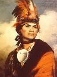 Painting (waist-up) of Joseph Brant, Mohawk Indian pained by Gilbert Stuart in 1786.