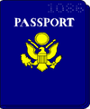 Drawing of a passport--blue cover, yellow logo, white lettering.