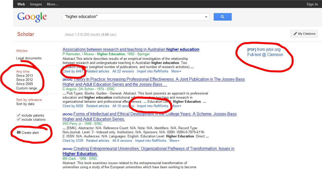 Google Scholar screenshot with search refinements circled