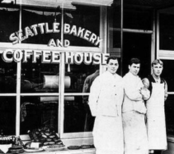 Historic picture of the Seattle Bakery and Coffee House storefront