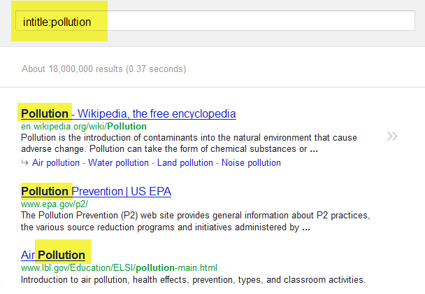 Screenshot of Google search for pollution using intitle