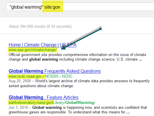 Screenshot of Google search for global warming gov using site