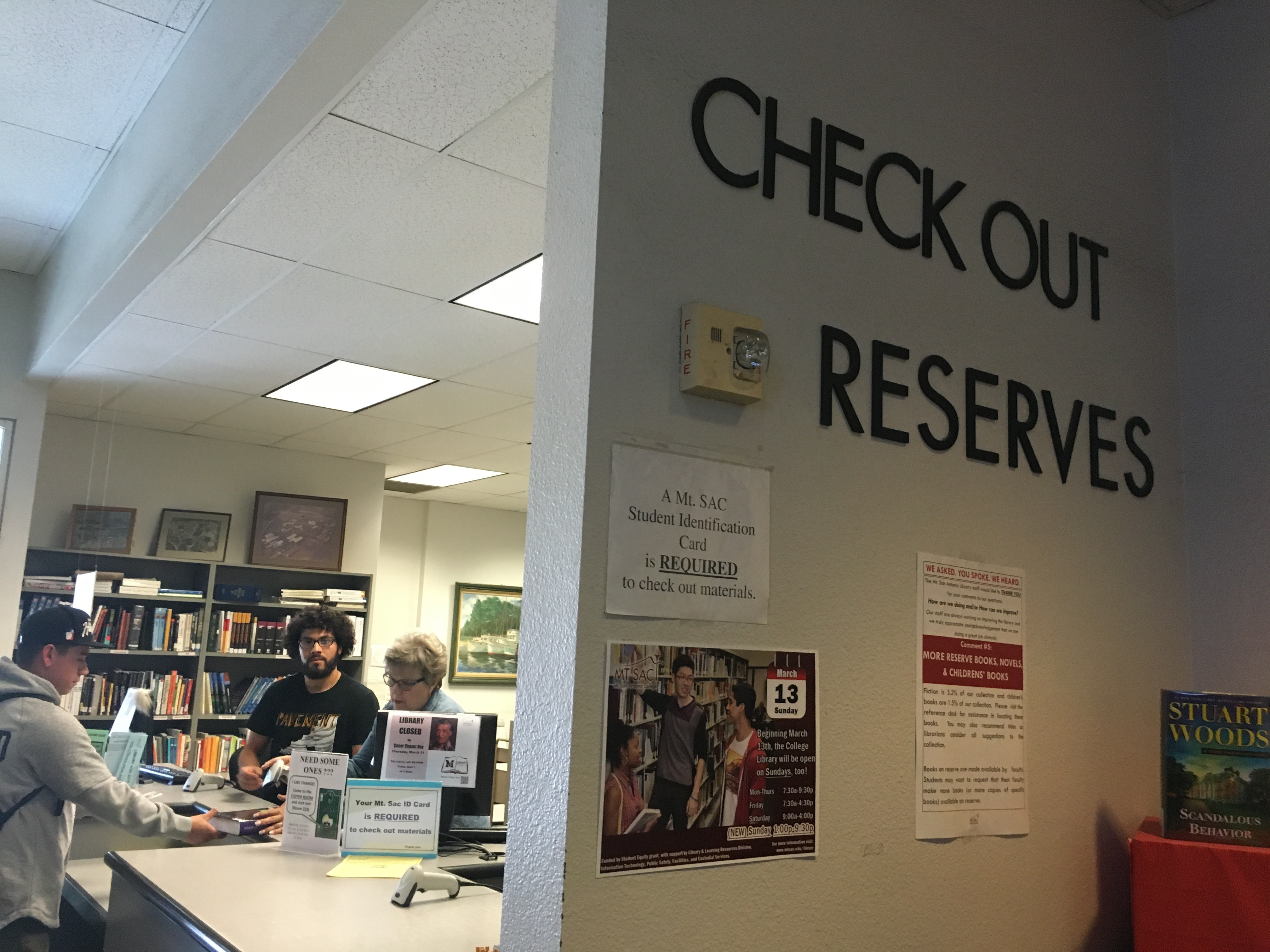 Picture of the Check Out/Reserves Desk