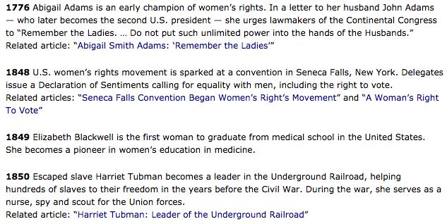 screenshot of Milestones in US Women's History website