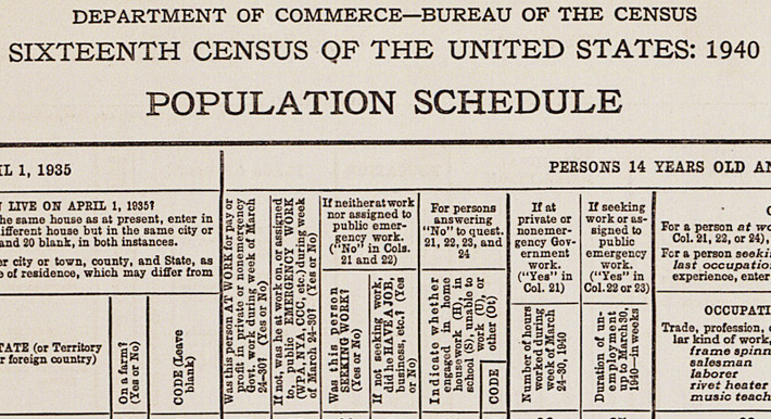 1940 Census Schedule