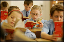 Children reading in school