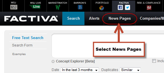 Image of Factiva News Pages Option