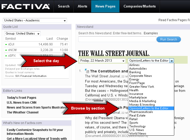 Image of Factiva News Pages Results Screen