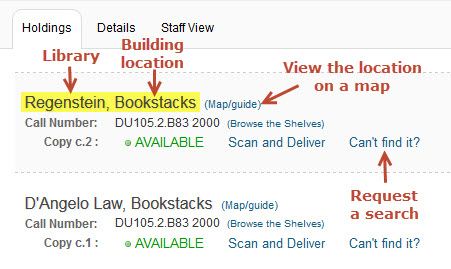 View of holdings record in catalog