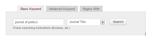 Catalog keyword search for journal