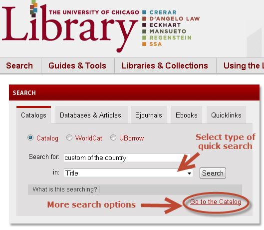 Catalog quick search feature on the Library's website.
