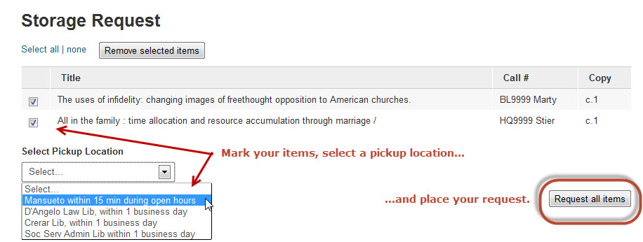 Catalog Storage Request With Location Option