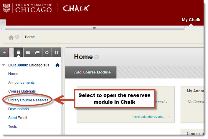 Link to Library Course Reserves in Chalk