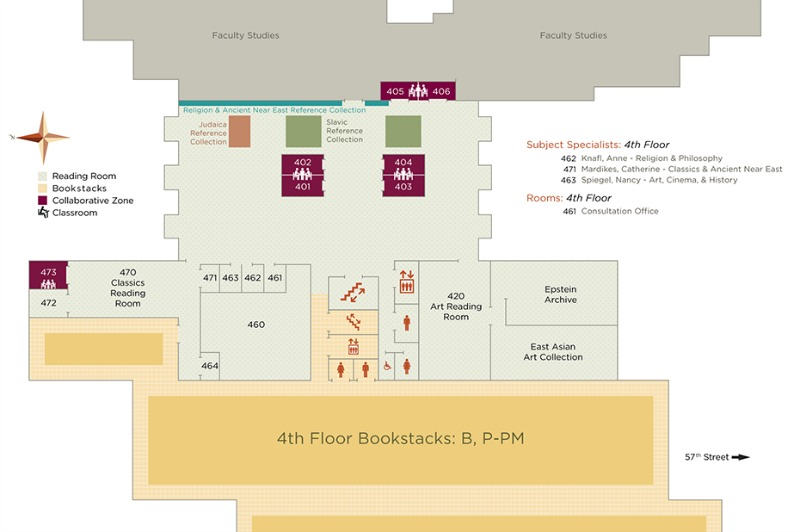 Map of the 4th floor Reading Room
