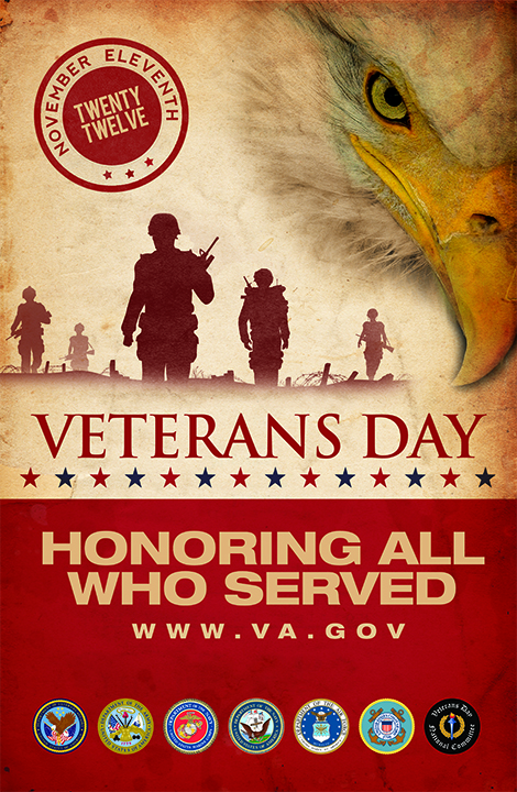 November 11 Veterans honoring all who served  poster with an Eagle and soldiers. Source www.va.gov