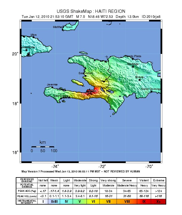 Intensity of Haiti quake
