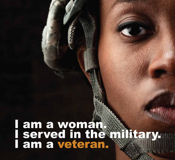 Closeup picture of a woman soldier with the words: I am a woman. I served in the military. I am a veteran.