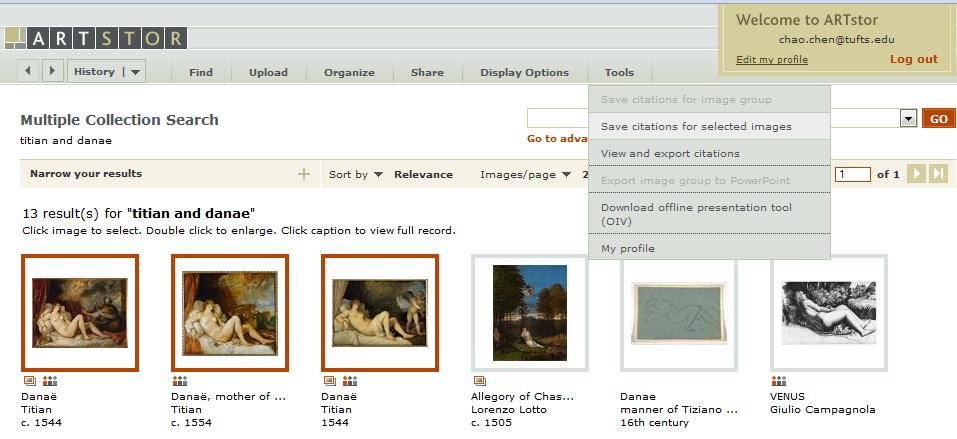 ARTstor image search result screen
