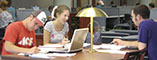 Group studying in the library