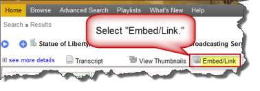 "Screenshot of ""embed link"" location."