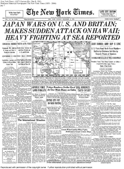 New York Times Pearl Harbor Headline