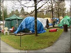 A tent city encampment in the Seattle area