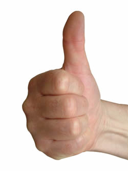 Photo of a thumbs up sign